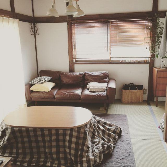 senさんの、リビング,無印良品,畳,unico,こたつ,たたみ,無印こたつ,unico ソファ,のお部屋写真
