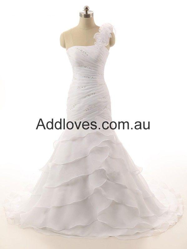 One-Shoulder White Organza Wedding Dresses
