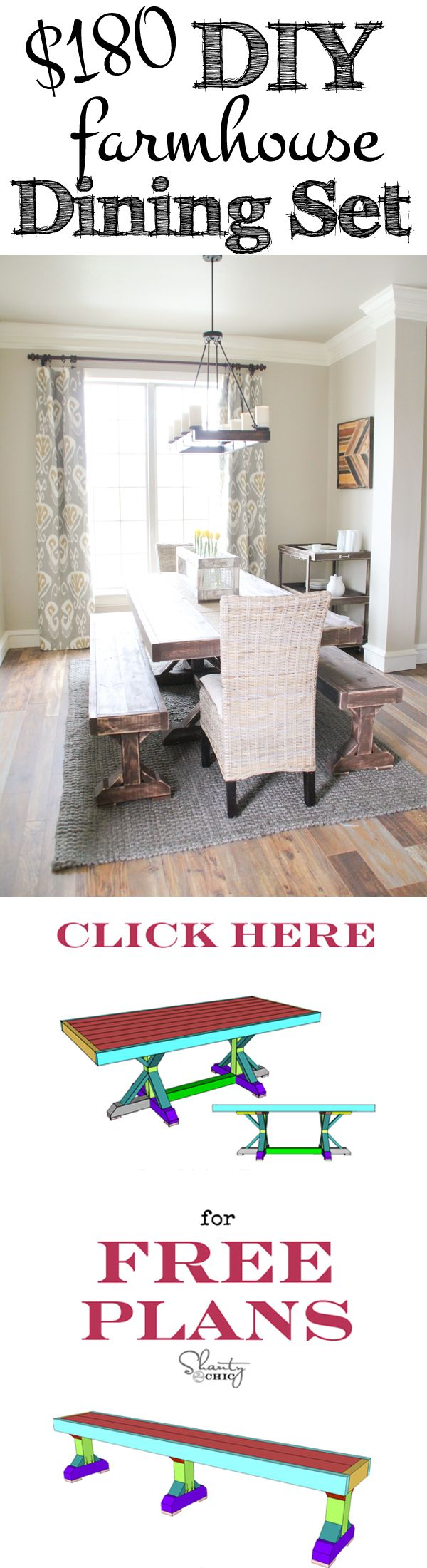 Build this Restoration Hardware inspired dining set for only $180 with FREE Plans from www.shanty-2-chic.com