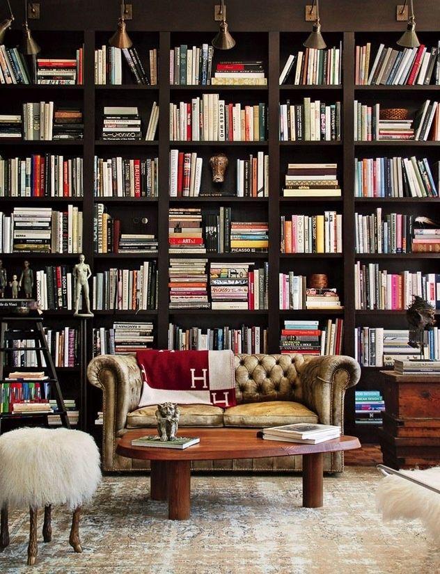 Furniture Diy Private Library Of Wooden Flooring To Ceiling Bokshelves Diy Dark Wooden