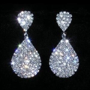 Rhinestone Encrusted Dangle Earrings - Prom Pageant New