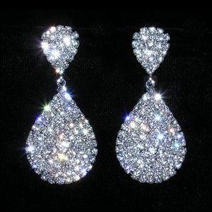 Rhinestone Encrusted Dangle Earrings - Prom Pageant New