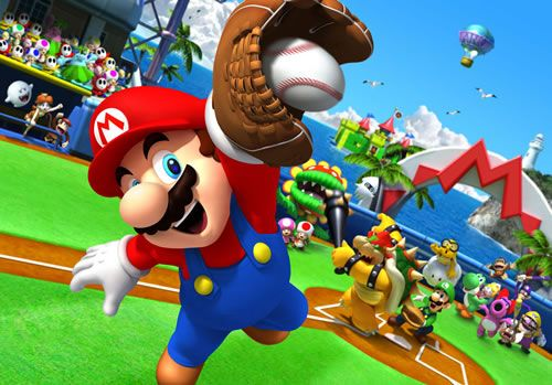 #Mario catching a #baseball in #MarioSuperSluggers. More great Mario games to play with friends at http://www.superluigibros.com/top-10-multiplayer-mario-games