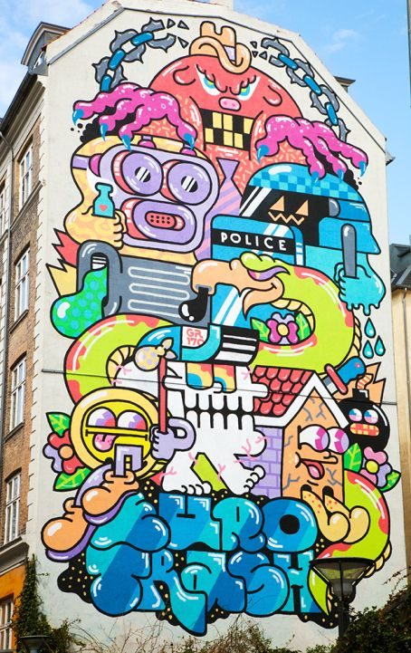 Amazing colourful street art in Nørrebro, Copenhagen (mural, cartoonish, Denmark, Danish, Travel, city, urban, wall, large, huge)