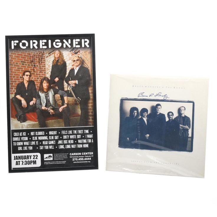 A signed Foreigner poster and Bruce Hornsby record. The Foreigner poster features an image of the band at the center, with white lettering over black of their name and song titles, and is presented under glass with a black metal frame. The poster advertises a performance at the Carson Center in Paducah, Kentucky, and was signed by the band members in black ink. Also included is a Bruce Hornsby Scenes from the Southside album signed by Hornsby in blue ink to its front cover. Everything But…