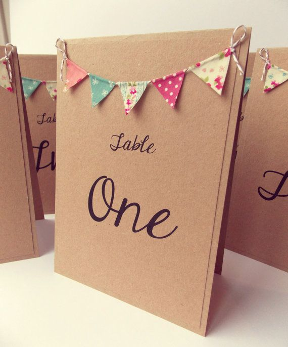 Bunting Table Number Card Rustic Wedding Table Number by FromLeoniWithLove…