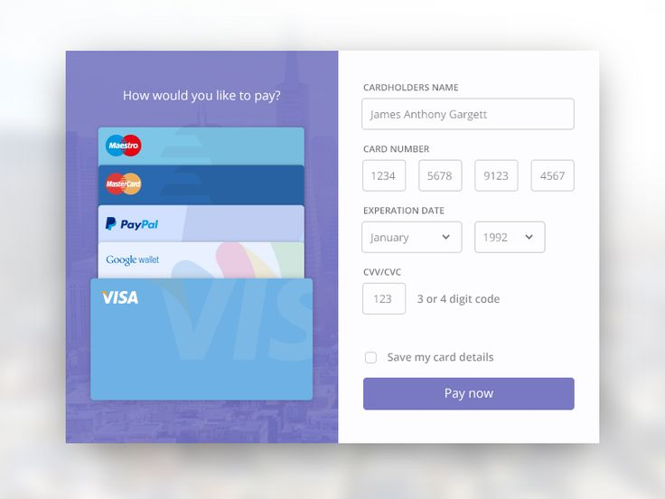 UI Elements 004 - Credit Card Payment by Jamie Gargett