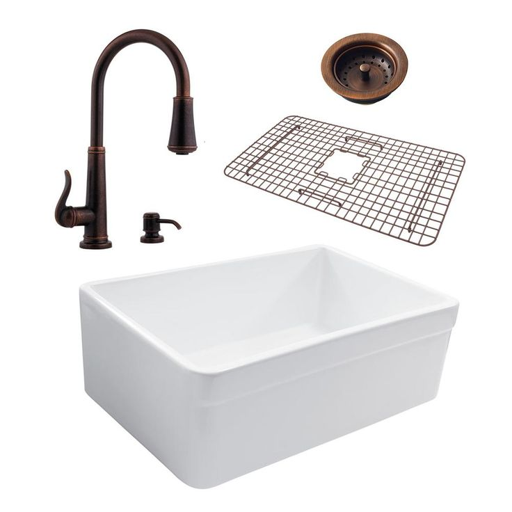 Pfister Wheatley All-In-One Farmhouse Fireclay 30 in. Kitchen Sink in White with Ashfield Rustic Bronze Faucet