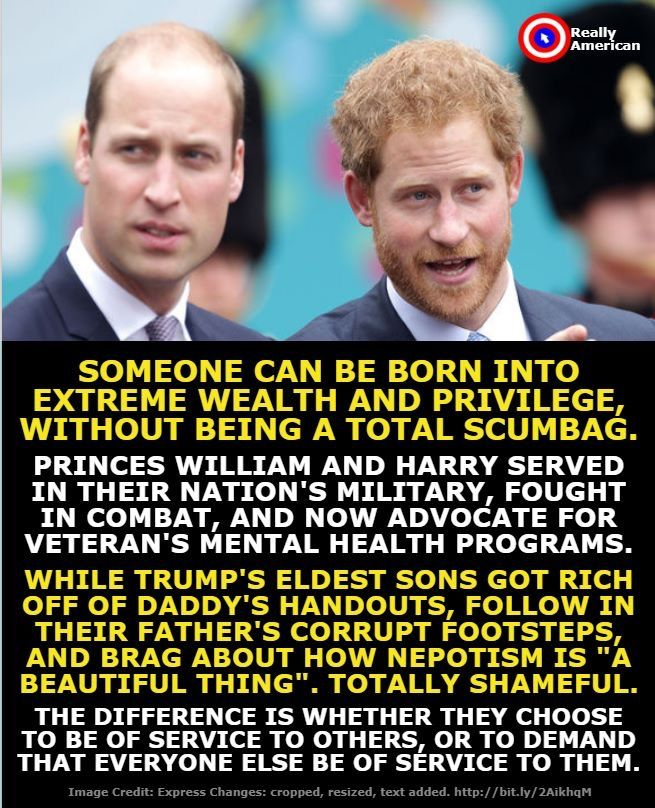The true difference is in the way they were raised. Diana formed hers sons lives with love, service, and compassion. T rump taught his kids to lie, cheat, steal, and hate.