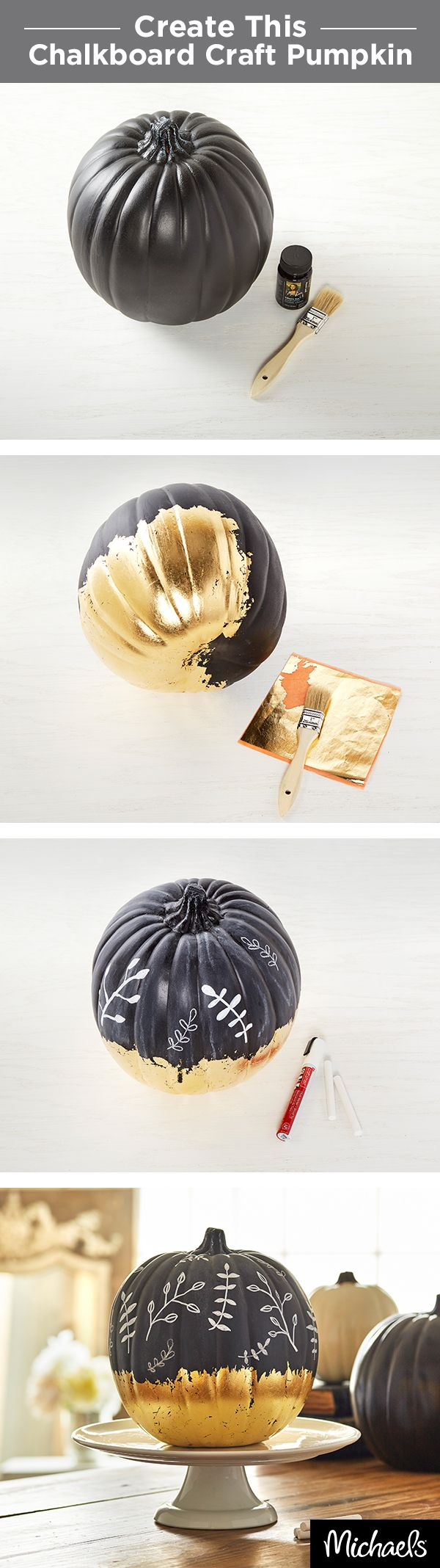 Craft a gilded chalkboard craft pumpkin in a few easy steps! Chalkboard pumpkins are ready to craft. Paint bottom of pumpkin with gold leaf adhesive. Tip: Use feathered brush strokes for an antiqued look. Place sheets of gold leaf onto the tacky areas of pumpkin & rub.  Use white chalk to prime the top half of pumpkin, rubbing it all over & wiping off. Draw designs or phrases on chalkboard area using chalk or chalk marker. Find everything you need to make this at your local Michaels store.