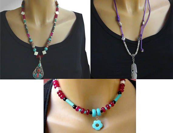 3 Boho necklace| Choker boho | Hippie necklace|  Bohemian jewelry| tibetana | Turchesi| Radice rubino | Agata|Madreperla| rif4 x