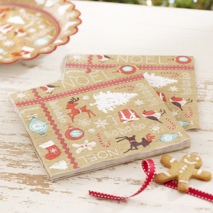 A Vintage Noel Christmas Party Napkins from Pink Frosting Christmas Shop