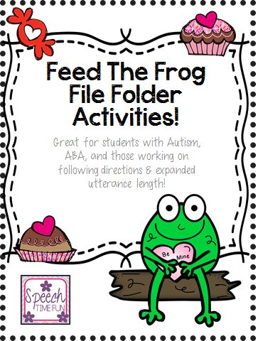 speech time fun feed the valentine frog file folder activity great for aba following. Black Bedroom Furniture Sets. Home Design Ideas