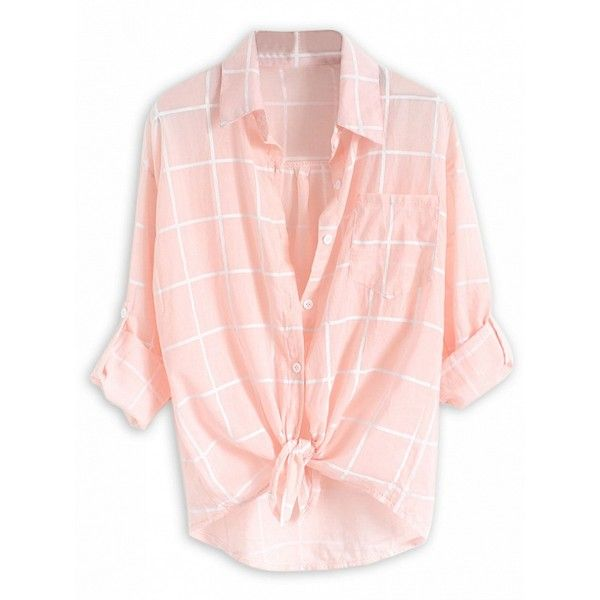 Choies Pink Plaid Print Roll Up Sleeve Semi-sheer Shirt (£7.01) ❤ liked on Polyvore featuring tops, shirts, pink, pink plaid shirt, tartan top, tartan shirt, roll sleeve shirt and shirt top