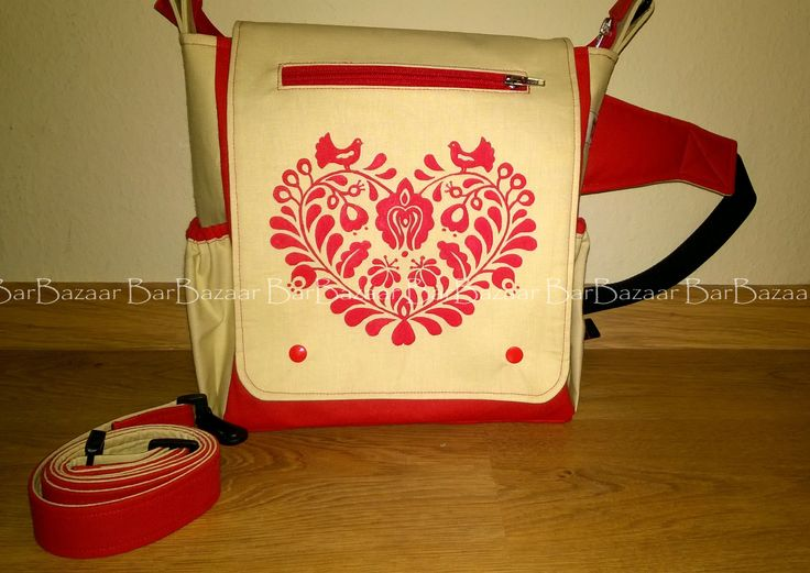 Hand painted 2in1 bag for baby carrying with hungarian folk motif