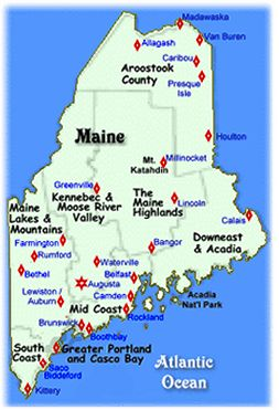 Maine Vacations, Midcoast, Southern Maine, Maine Highlands, Maine Lakes and Mountains, Northern Maine, Kennebec & Moose River Valley Maine, Downeast & Acadia Maine