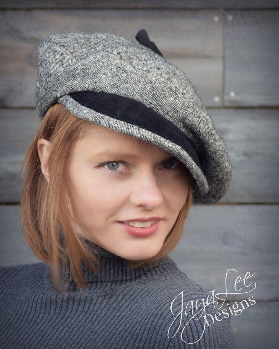Slouch Beret Hat Black Wool Tweed Leather by GreenTrunkDesigns