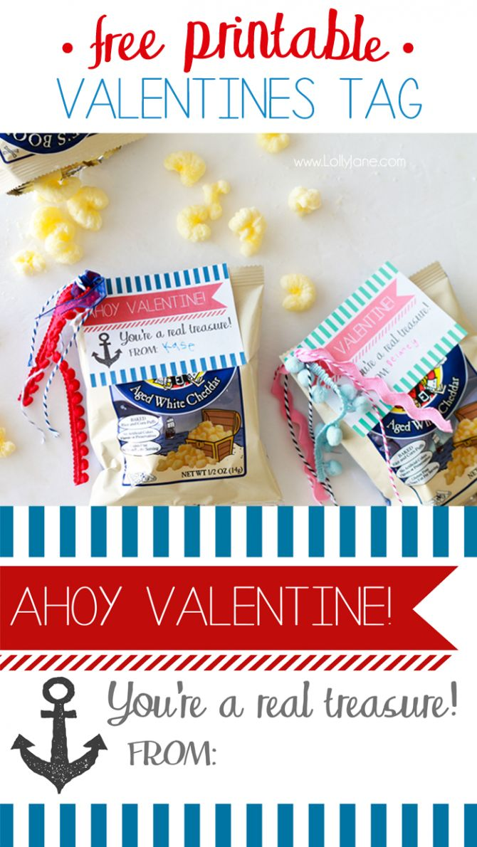 """FREE """"Ahoy Valentine"""" gift tag to pair with Pirate Booty...such a cute handmade Valentine idea!"""