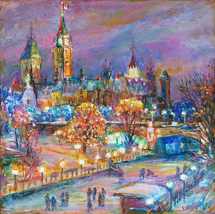 Ottawa Winterlude Festival by Elena Khomoutova, Oil on Board, Painting   Koyman Galleries