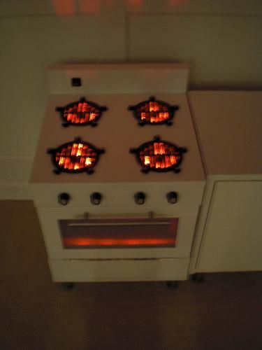 Drain grates as burners with red led lights underneath for Ikea twinkle lights