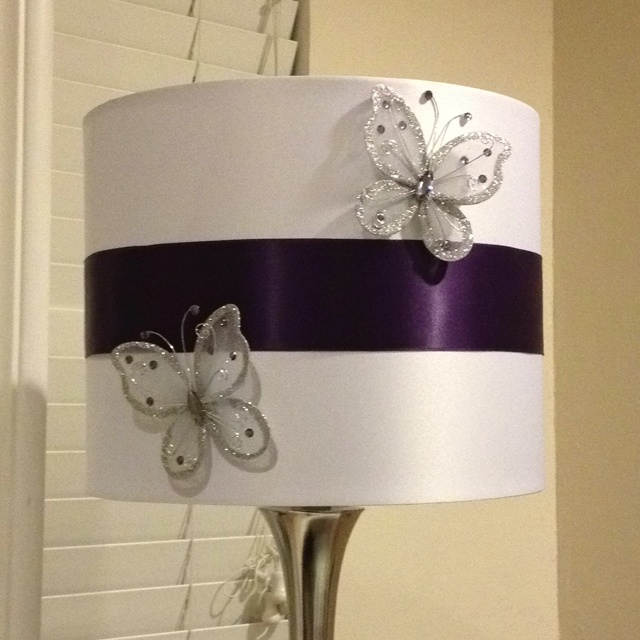 Took A Plain White Lamp Shade Added Some Ribbon And Butterflies To Customize It To Colors In Room