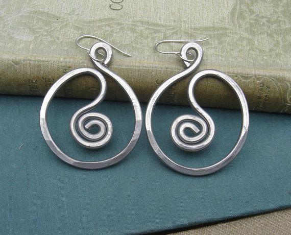 Big Spiral in a Circle Big Earrings Light by nicholasandfelice,