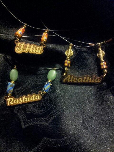 Dropping names will always open doors...wooden names plates accented with Ghana beads and semi-precious stoness. Www.etsy.com/shop/krakuedesigns