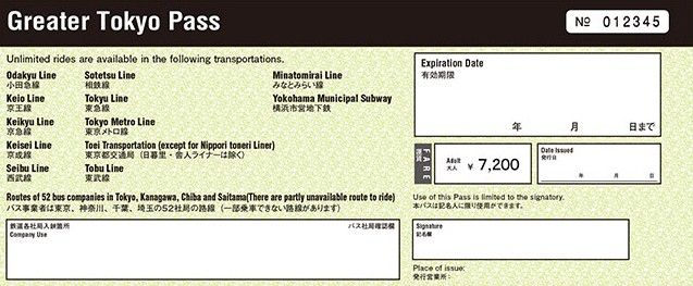 Greater Tokyo Pass Travel By Train All You Want For 3 Days
