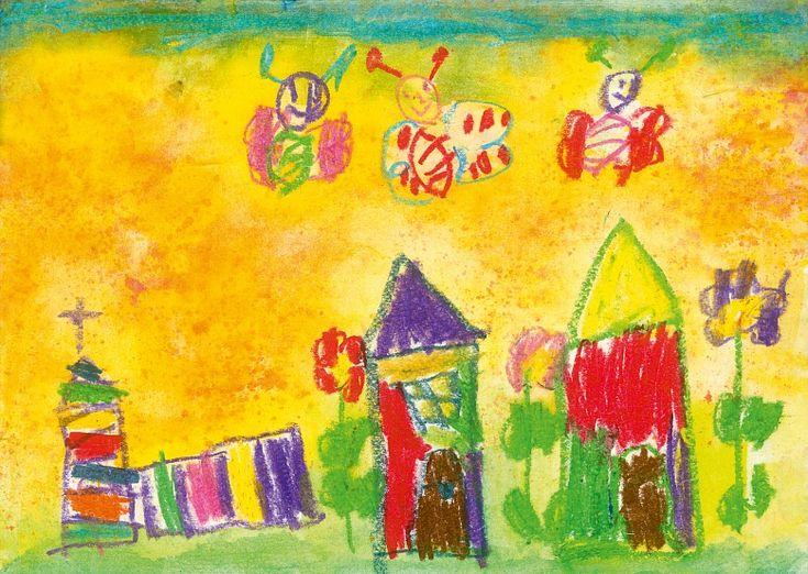Die Fototapete erstrahlt in kräftigen Farben. Lachende Schmetterlinge fliegen über bunte Häuser und eine bunt gestreifte Kirche. Mit dieser verspielten Kinderzeichnung bringen Sie Farbe in den Raum.