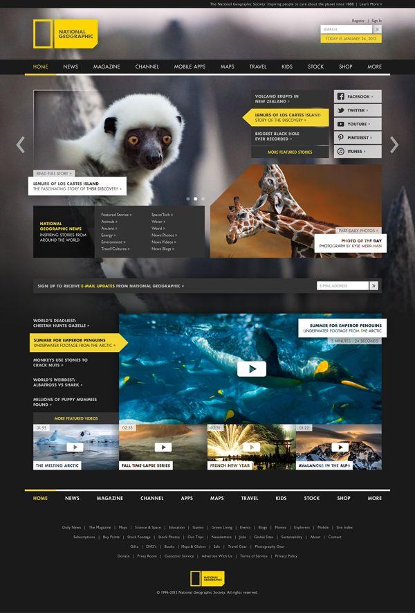 National Geographic Rebrand | Designer: Justin Marimon #ResponsiveDesign #WebDesign #Web #Responsive #UI #UX #GUI #Branding #Websites #Design