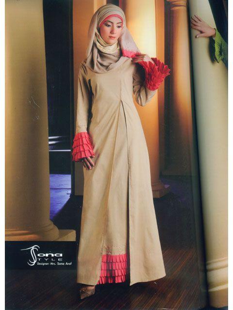 Beige & Pink Abaya.  Lovely sleeves and hem.  Could use some pink embroidered flowered sprinkled randomly. :)