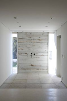 modern, distressed, white-washed doors - Love these doors!