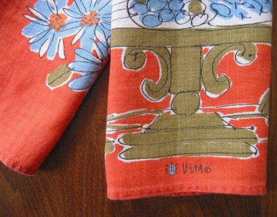 Vintage Vera Neumann Ladybug Logo Tea Towel