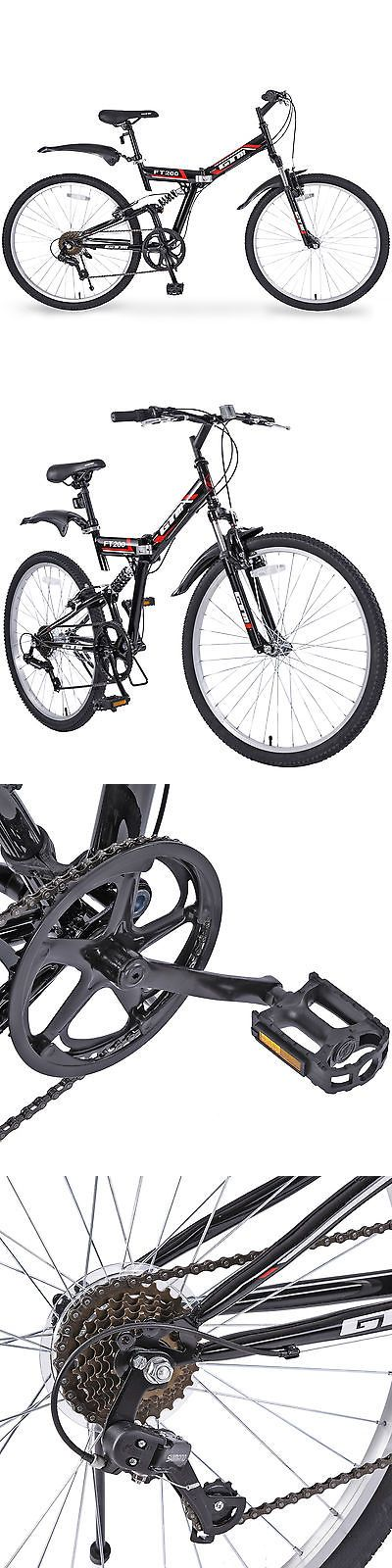 Bicycles 177831: 7 Speed Folding Mountain Bike Black Bicycle Hybrid Shimano Suspension Sports 26 -> BUY IT NOW ONLY: $98.9 on eBay!