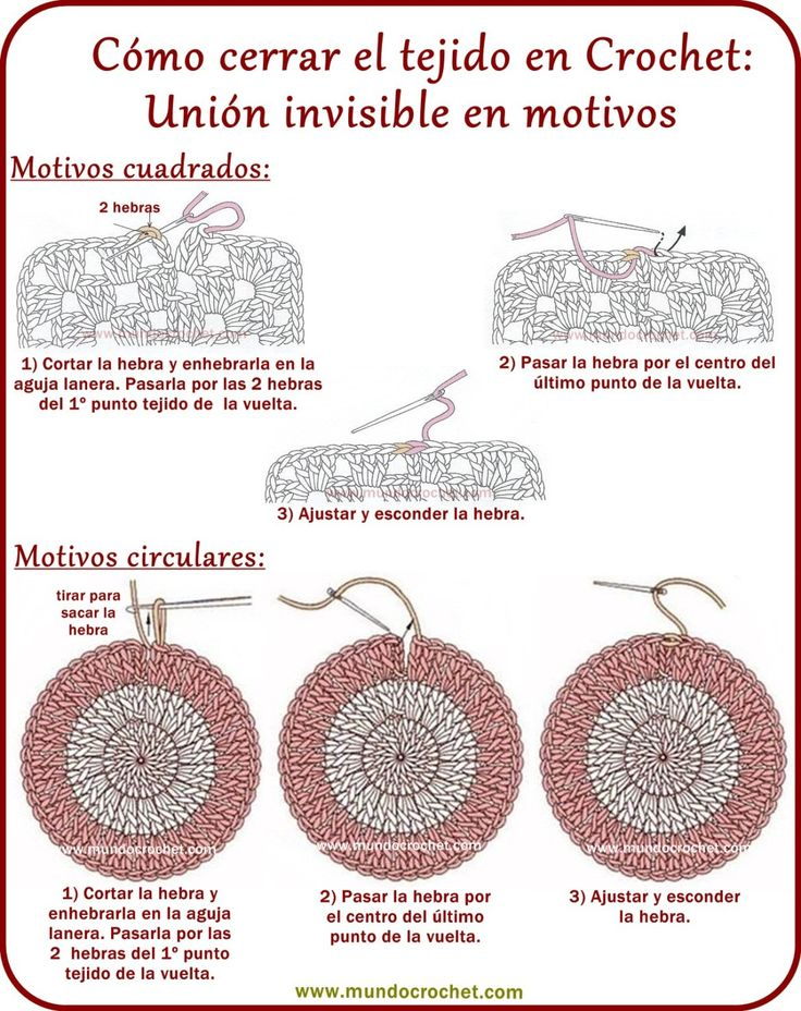 Como cerrar el tejido y esconder la hebra en crochet o ganchillo01                                                                                                                                                                                 Más