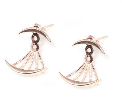 925 Ayar Gümüş Hilal Modeli Ear Jacket Küpe, Pembe
