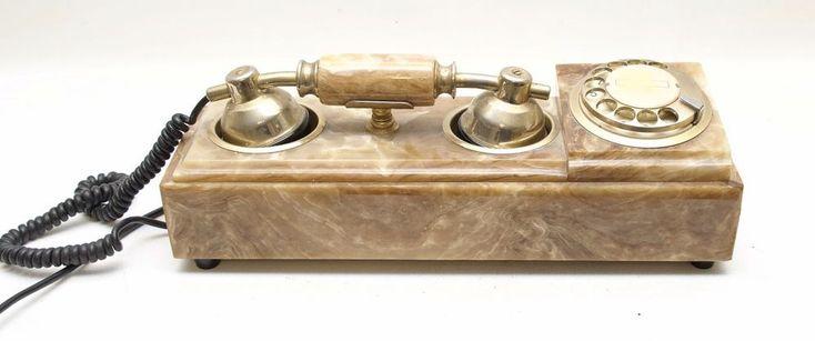 Fatap Italia S.AS 24 Carat Gold Plated Marble Brown Rectangular Rotary Telephone #FatapaItaliaSAS