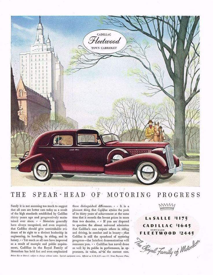 1936 BIG Vintage Cadillac Fleetwood Town Cabriolet Automobile Car Art Print Ad