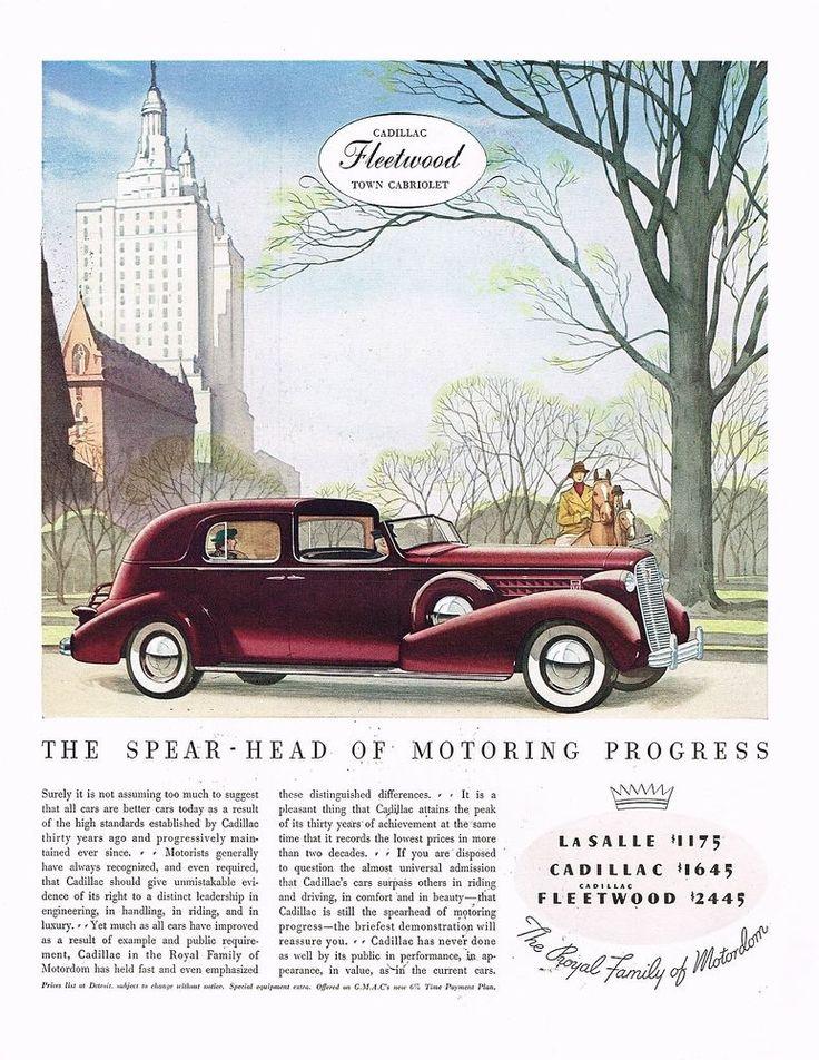 1936 BIG Vintage Cadillac Fleetwood Town Cabriolet Automobile Car Art Print Ad
