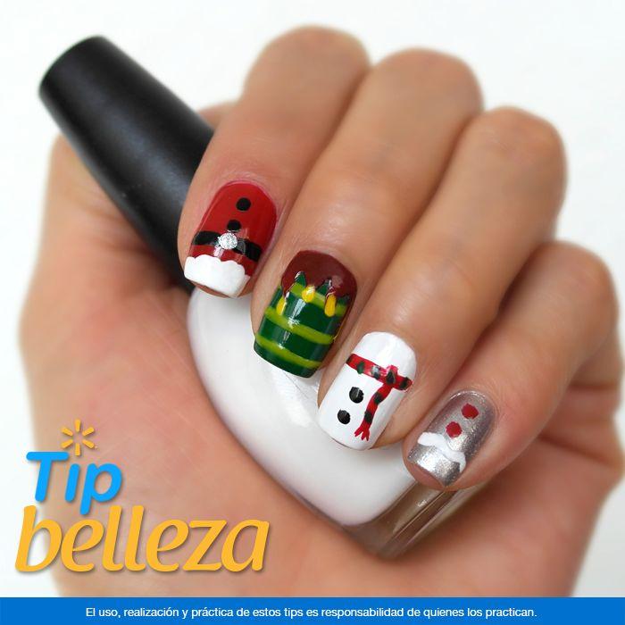 Formas navideñas en tus uñas. Con la variedad de colores de barniz para uñas que