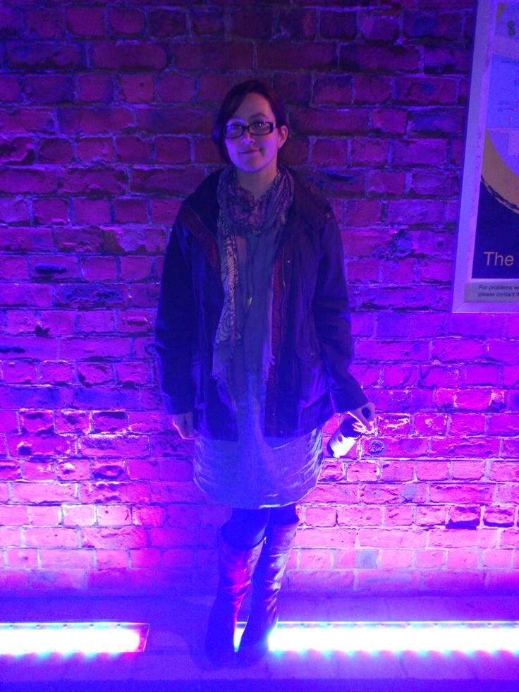 Me on the Ouseburn, funky lighting.