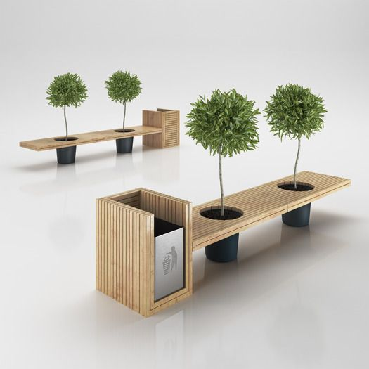 Wooden Eco Design Bench with Integrated Trash Bin 3D Model .max .obj .3ds .c4d