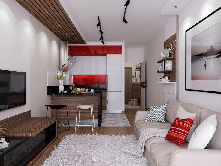 Dizajn ovog malog stana pametno odgovara potrebama aktivne žene bez žrtvovanja osobnosti i stila. Unutrašnjost je svijetla i energična, začinjena strateškim detaljima crvene boje. Dizajn je ozbiljan, ali umirujući i nudi obilje razigranih detalja.