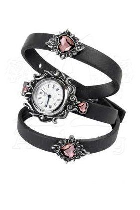 Heartfelt Watch by Alchemy Gothic features a pretty watch dial within an ornate frame and4 purple Swarovski crystal hearts on a leather strap which wraps around the wrist, with adjustable fastenings.