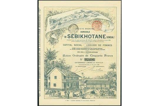 S.A. Agricole de Sébikhotane (Sénégal). Action ordinaire F 50, Schaerbeek-Bruxelles 1899, #2496.