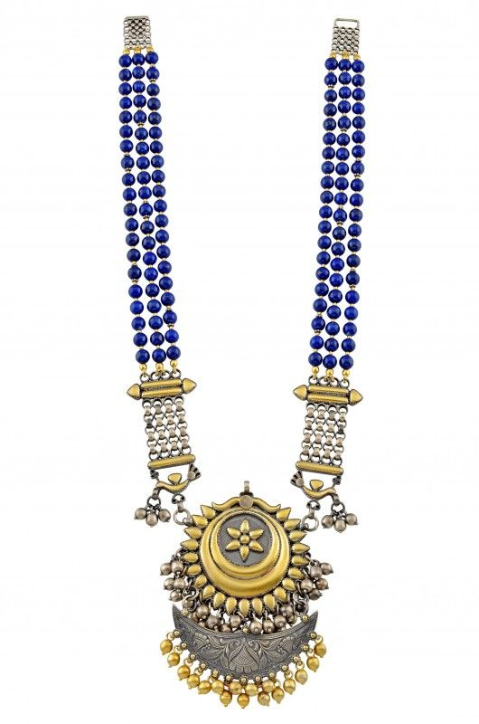 TRIBE BY AMRAPALI ~ Silver Two Tone Multi Strand Floral Crescent Lapis Necklace
