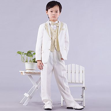 Six Pieces White And Gold Ring Bearer Suit Tuxedo – USD $ 59.99