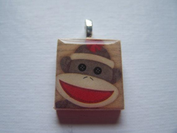 love!Monkeys Mania, Sock Monkeys, Monkeys Business, Socks Monkeysthen, Tile Pendants, Monkeys Pendants, Scrabble Tiles, Baubles, Socks Monkeyzzzzz