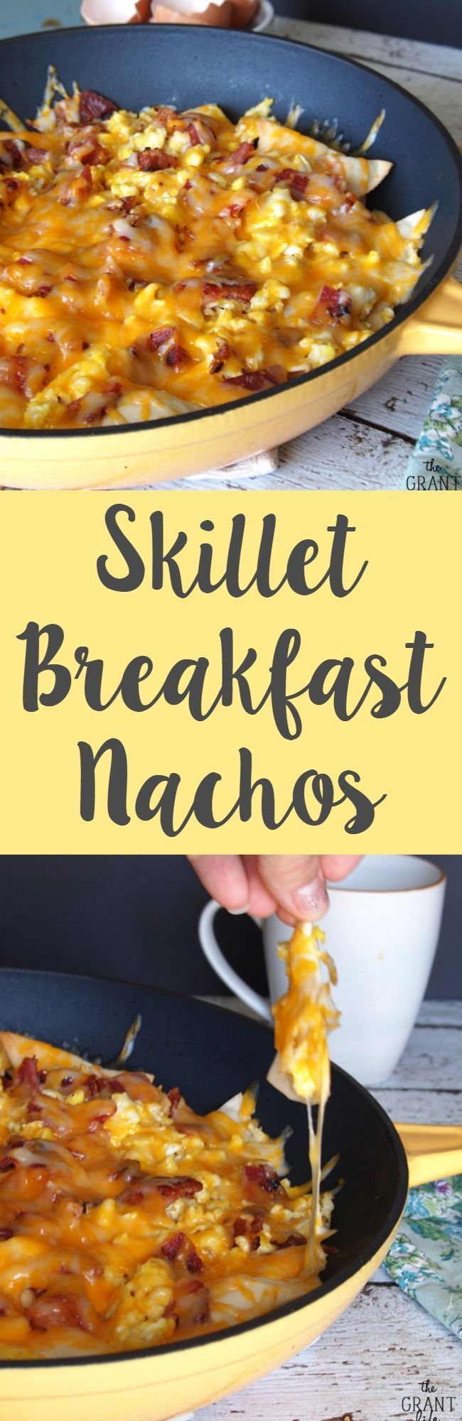Skillet breakfast nachos! Make this easy recipe and watch it disappear