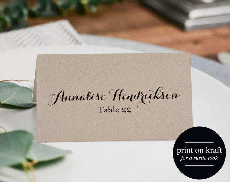 17 Best Ideas About Place Card Template On Pinterest